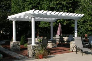 White Pergolas with Stone Trim